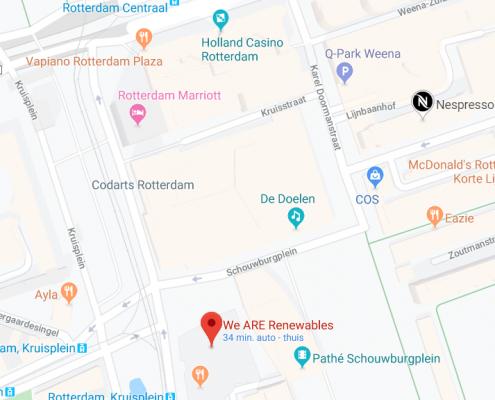 The location of We ARE Renewables - Kruisplein 480 Rotterdam